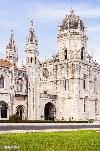 Stock photograph of the landmark Jeronimos Monastery aka Hieronymites Monastery in Lisbon Portugal, a Unesco World Heritage Site.