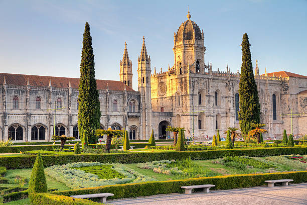 Jeronimos monastery Beautiful image of the Hieronymites Monastery (Jeronimos), a UNESCO world heritage site, at sunset in Lisbon, Portugal. HDR monastery stock pictures, royalty-free photos & images