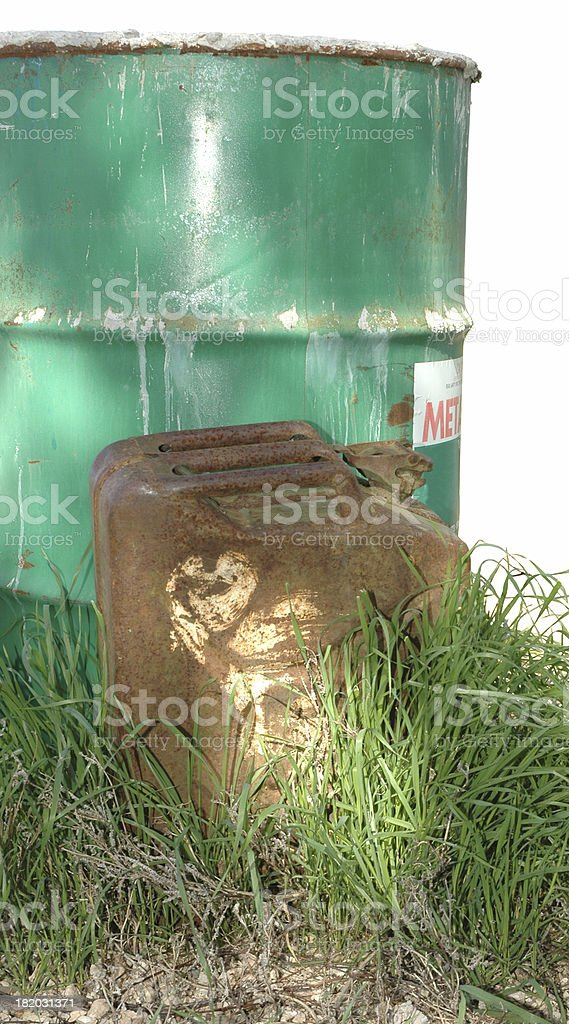 Jerry Can and oil drum stock photo