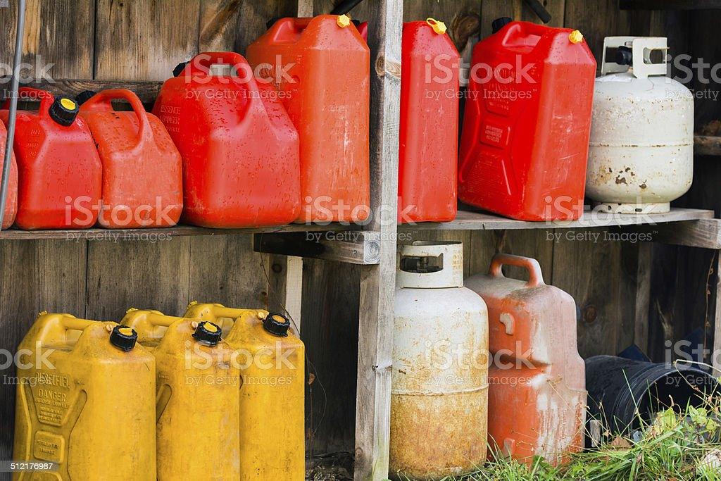 Jerry Cans and Propane Tanks stock photo