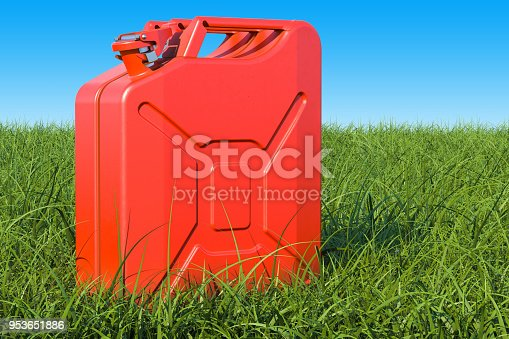 istock Jerrycan in the green grass against blue sky, 3D rendering 953651886