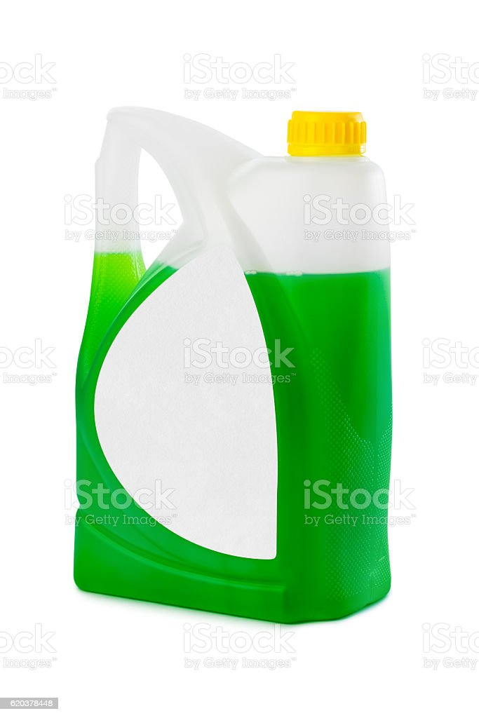 Jerrycan with green liquid and blank label foto de stock royalty-free