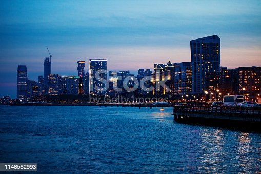 Jersey City at dusk. New Jersey, USA