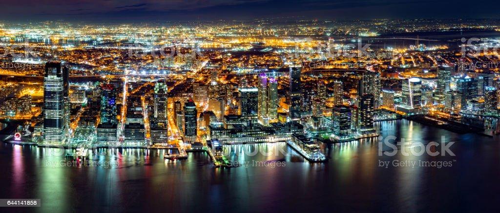 Jersey City panorama Aerial Jersey City panorama by night Aerial View Stock Photo