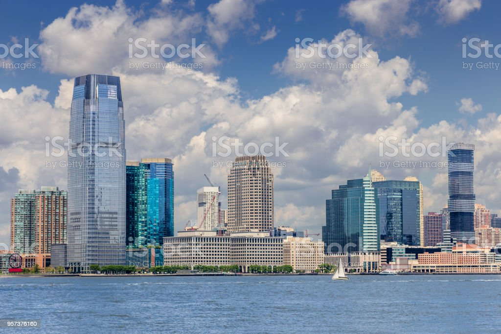 Jersey City Skyline with Goldman Sachs Tower as Seen from Battery Park Promenade, New York City. stock photo