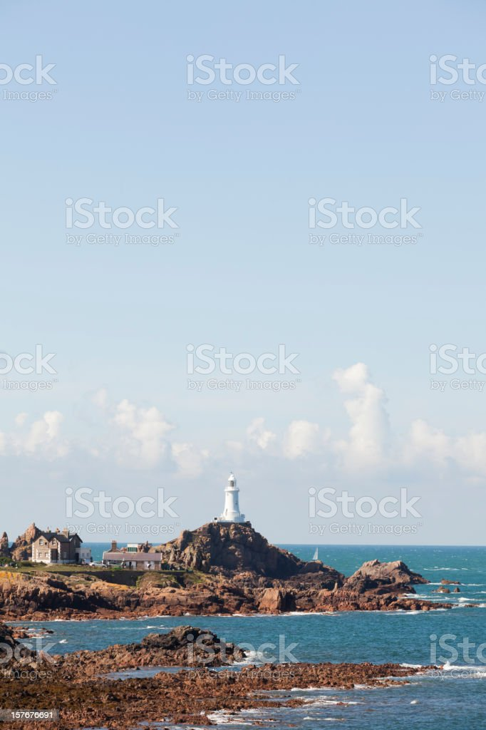 Jersey Coastline And Corbière Lighthouse, The Channel Islands stock photo