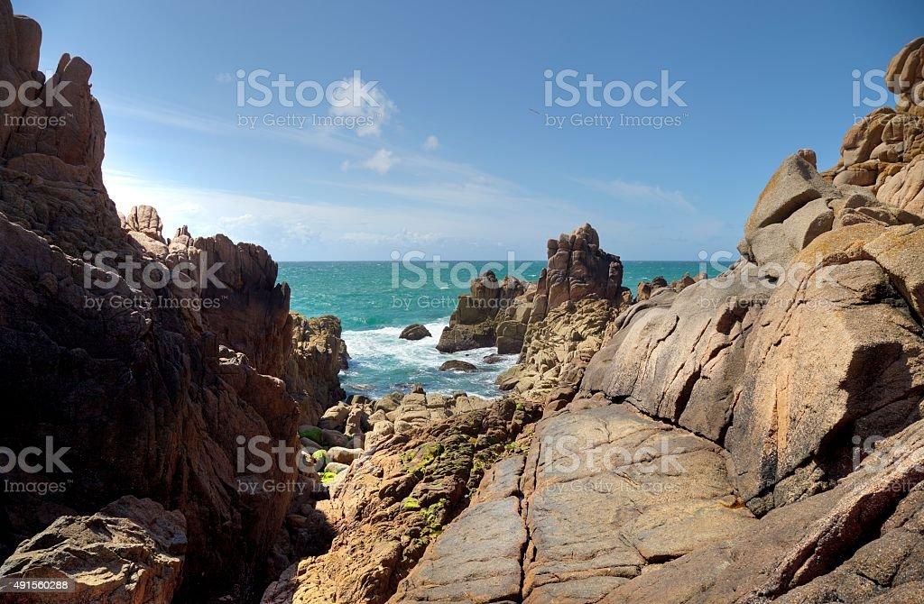 Jersey coastline near Le Corbiere Lighthouse stock photo