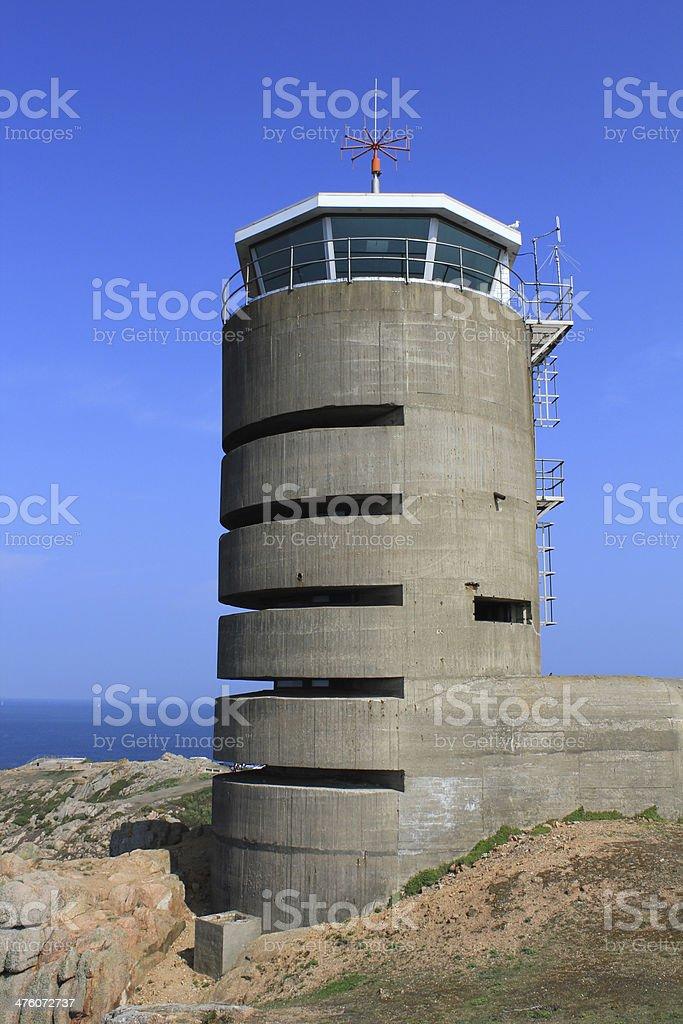 Jersey, German watch tower and bunker near La Corbiere, Channel stock photo