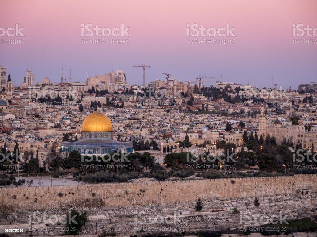 Jerusalem at Dusk - old city stock photo