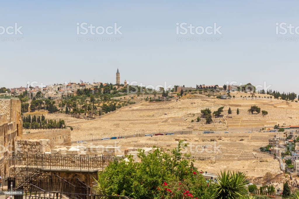 Jerusalem Bell Tower Russian Candle on the Mount of Olives stock photo