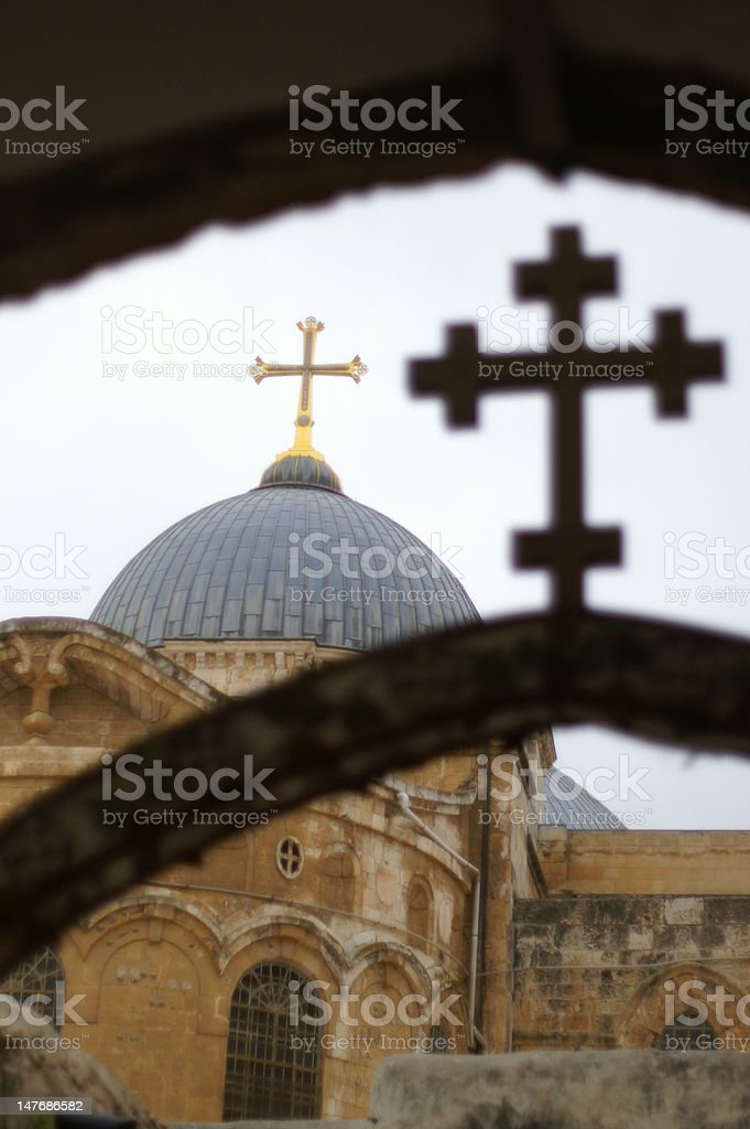 Jerusalem churches - crosses stock photo
