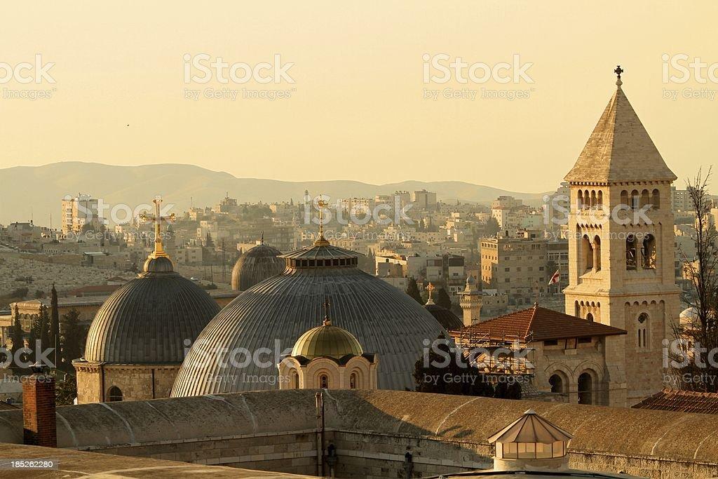 Jerusalem Churches on the Skyline stock photo