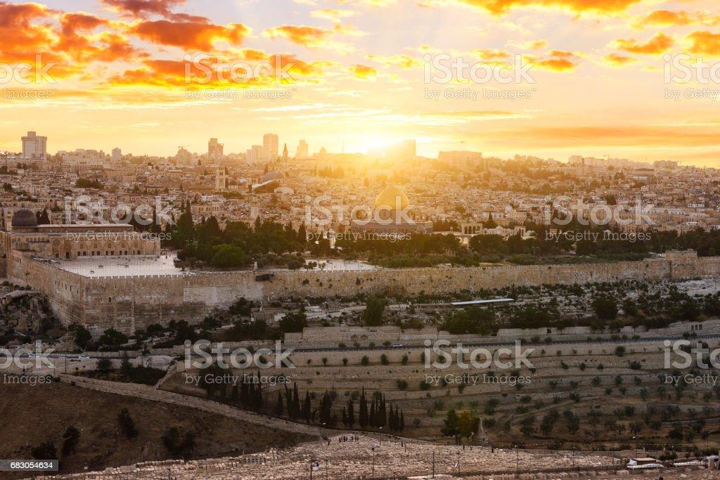 jerusalem city by sunset stock photo