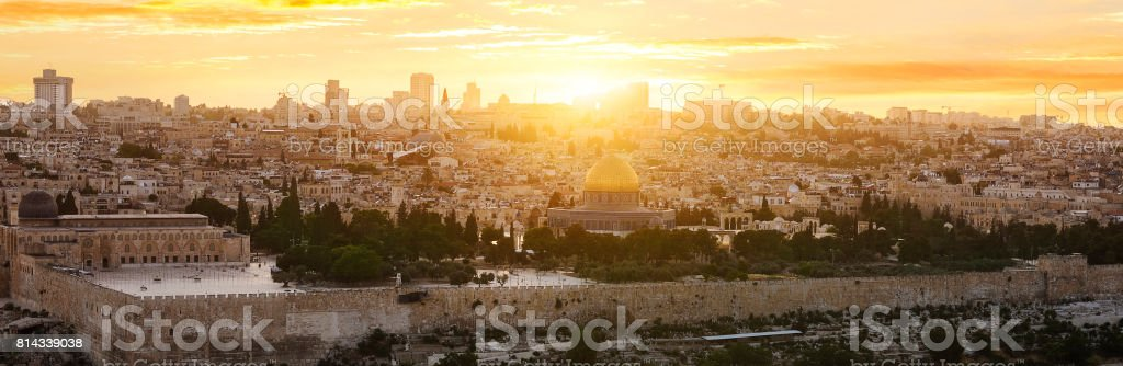 jerusalem city by sunset stock photo