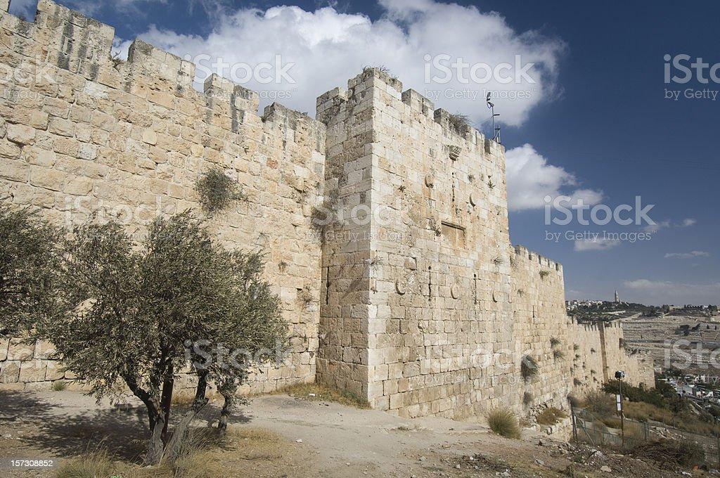 Jerusalem city walls royalty-free stock photo