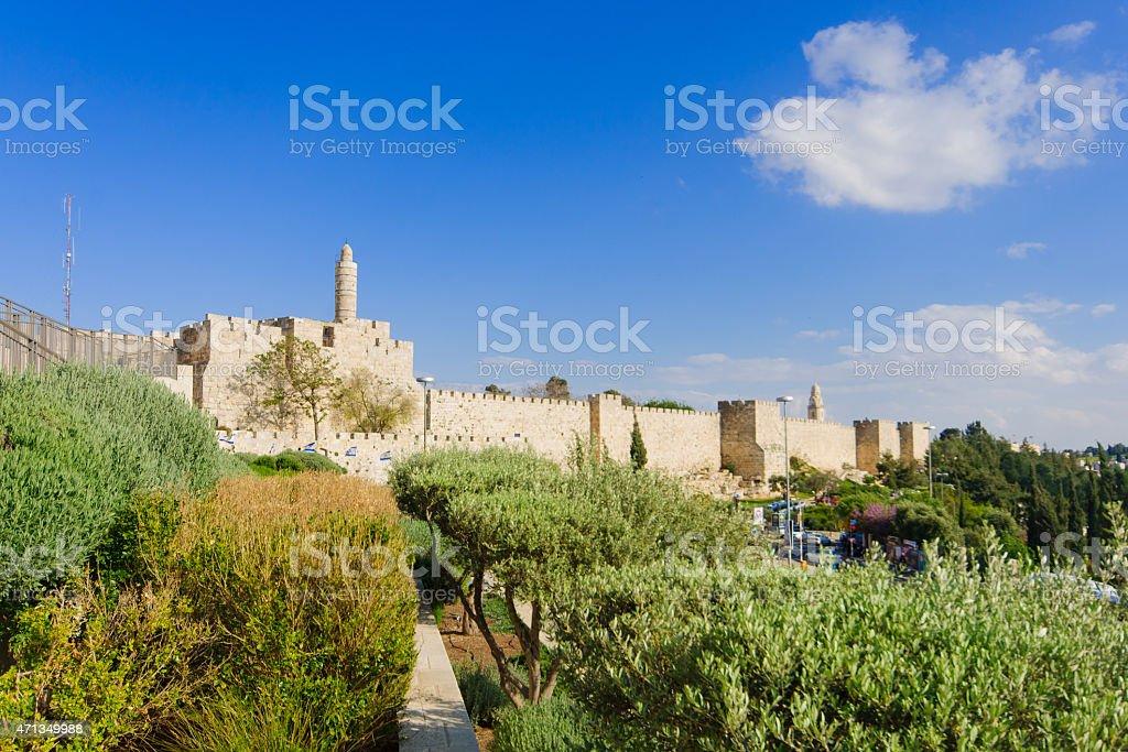 Jerusalem city walls stock photo
