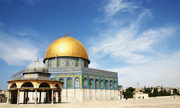 jerusalem dome of rock on a sunny day - jeruzalem stockfoto's en -beelden