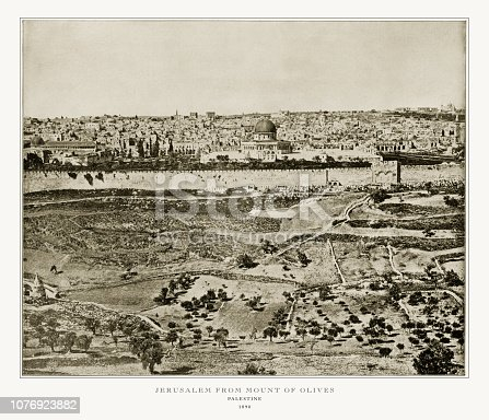 Antique Palestine Photograph: Jerusalem From Mount of Olives, Palestine, 1893. Source: Original edition from my own archives. Copyright has expired on this artwork. Digitally restored.