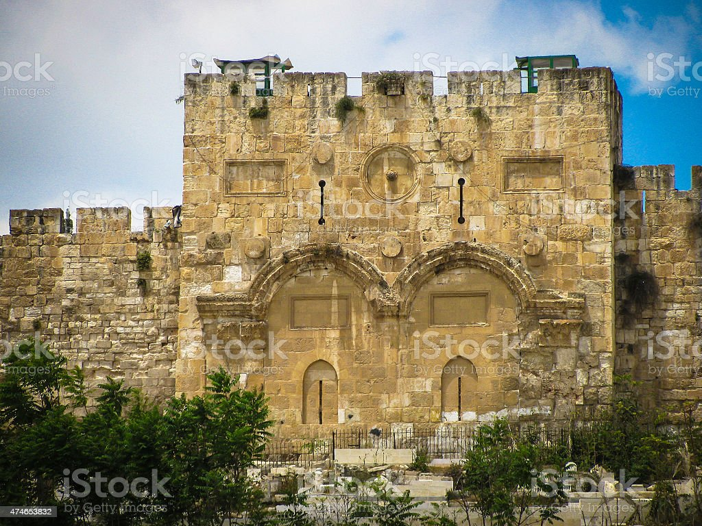 Jerusalem Golden gates  on  east wall of old town stock photo