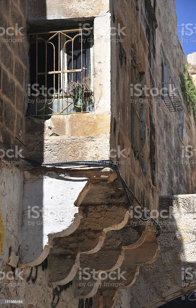 Jerusalem, Israel: closed balcony on corbels, oriel stock photo