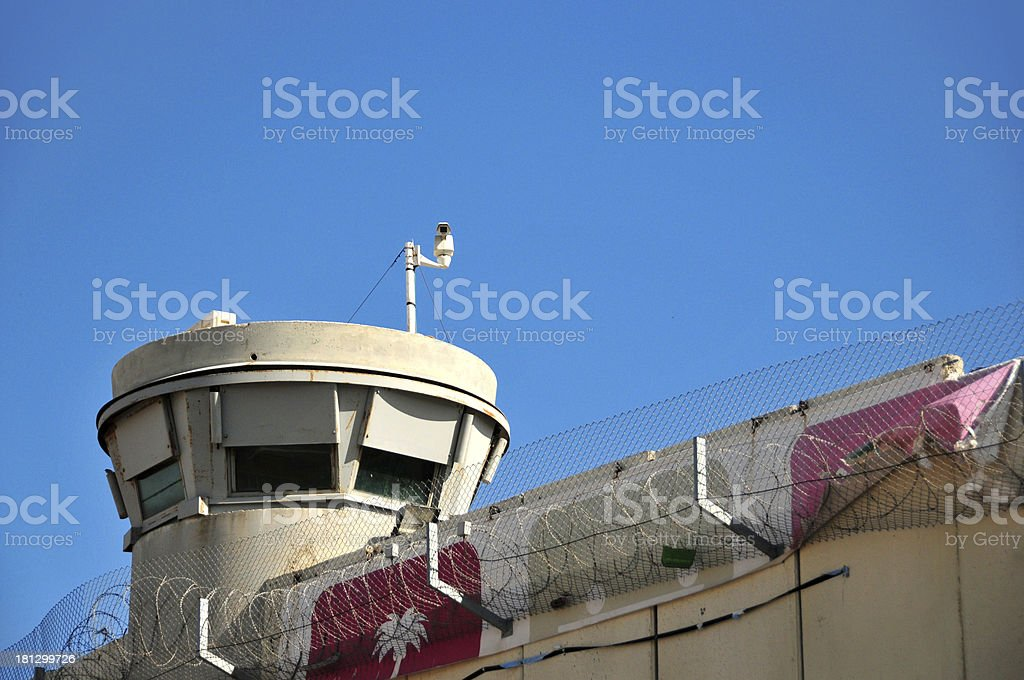 Jerusalem, Israel: IDF tower and barrier, Rachel's Tomb Crossing Checkpoint stock photo
