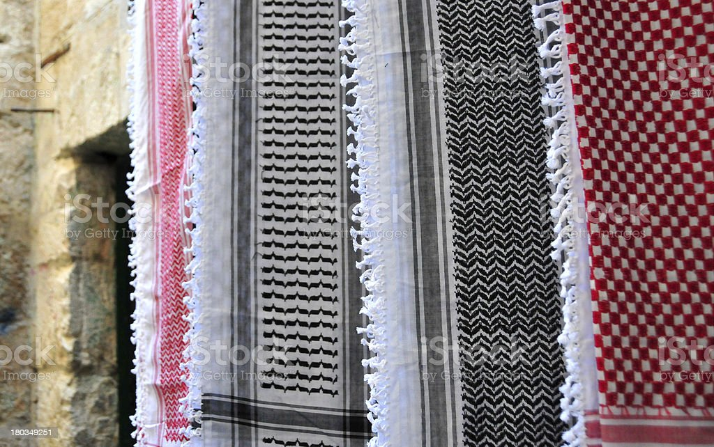 Jerusalem, Israel: keffiyeh for sale, famous Palestinean scarf royalty-free stock photo