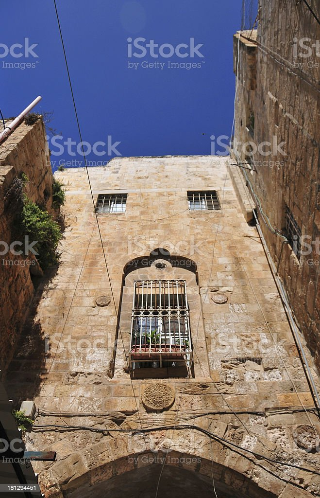 Jerusalem, Israel: stone arch, El Wad Ha Gai street stock photo