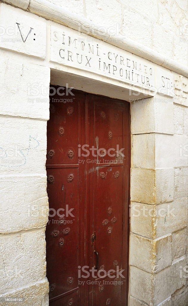 Jerusalem, Israel: Via Dolorosa, 5th station, Franciscan church royalty-free stock photo
