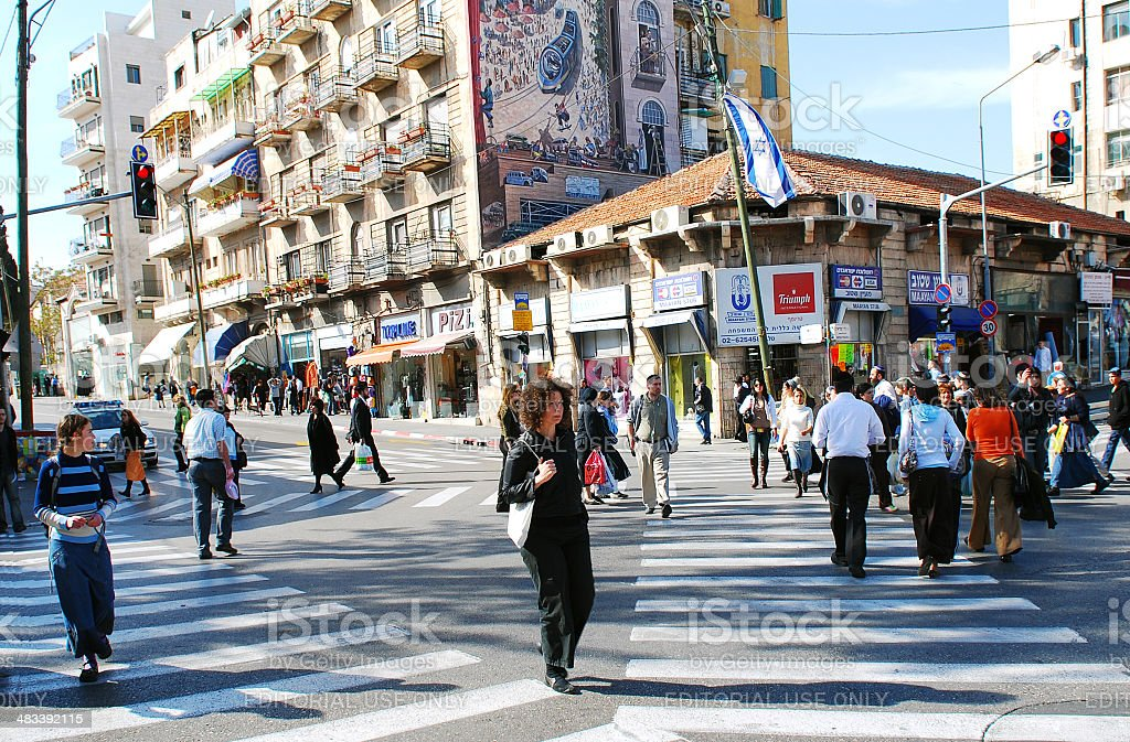 Jerusalem Jaffa Street pedestrian scramble stock photo