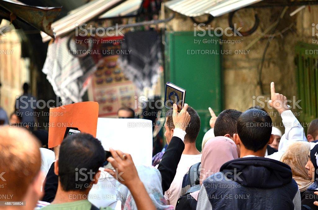 Jerusalem: Muslim activists demonstrate against non-Muslims stock photo