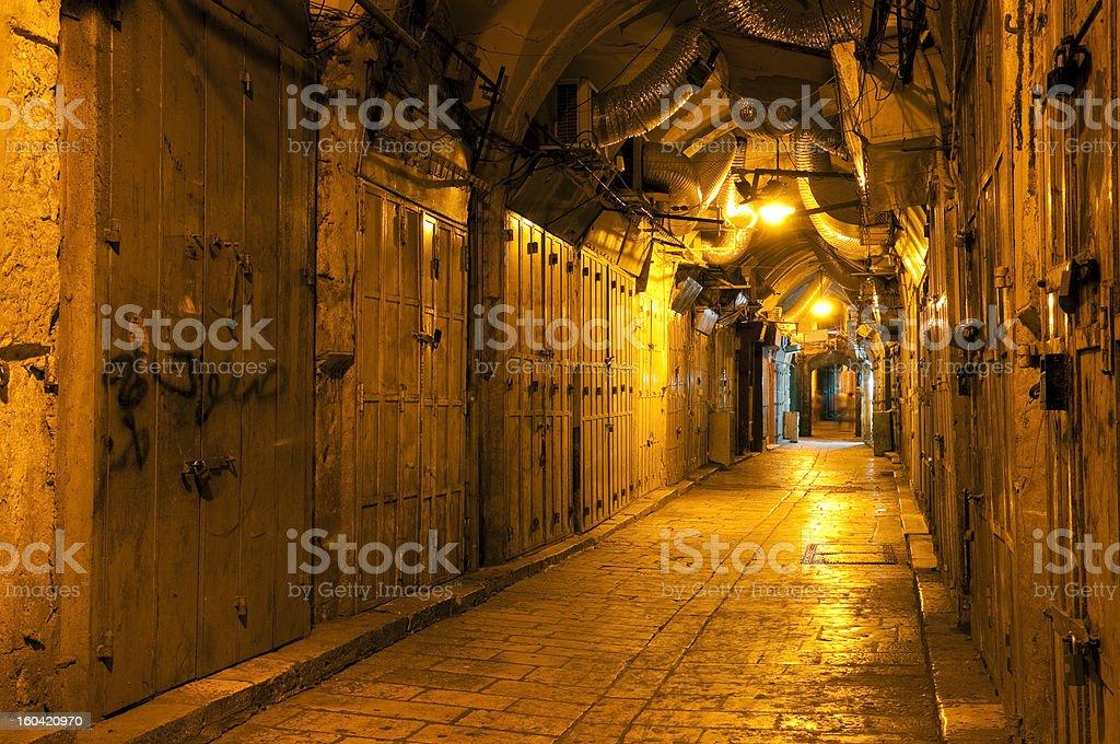 Jerusalem old city alley at night stock photo