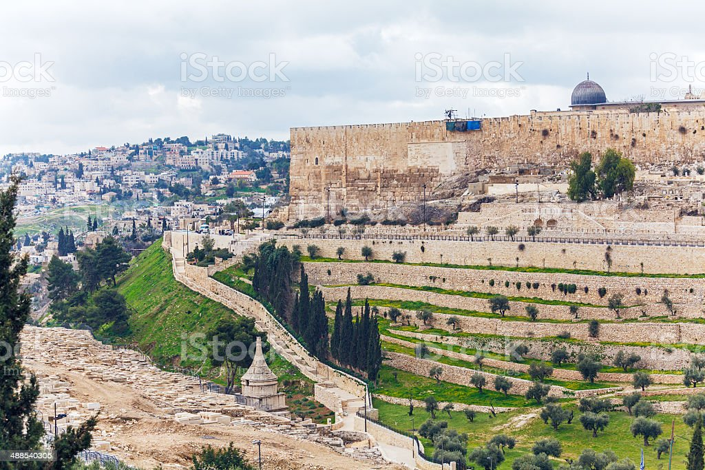 Jerusalem Old City an Ancient Wall stock photo