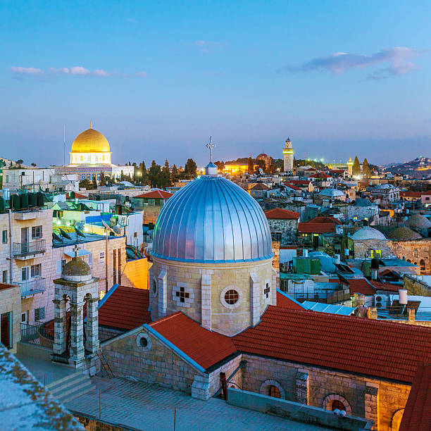 Jerusalem Old City at Night, Israel Jerusalem Old City and Temple Mount at Night, Israel jerusalem old city stock pictures, royalty-free photos & images
