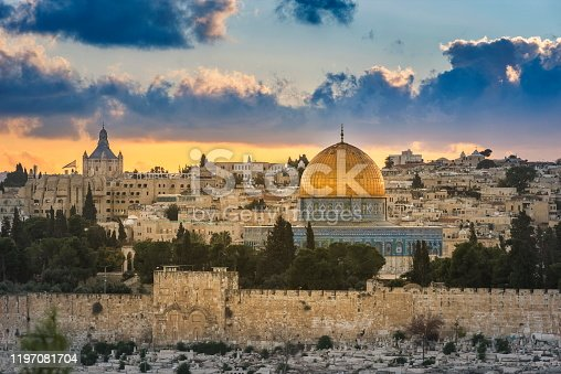 Jerusalem Temple Mount and Mount Zion at sunset seen from Mount of Olives