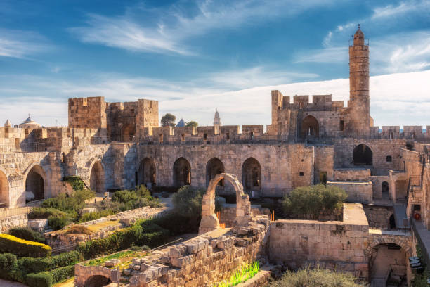 Jerusalem Old City Ancient citadel and Tower of David in Jerusalem, Israel. jerusalem old city stock pictures, royalty-free photos & images