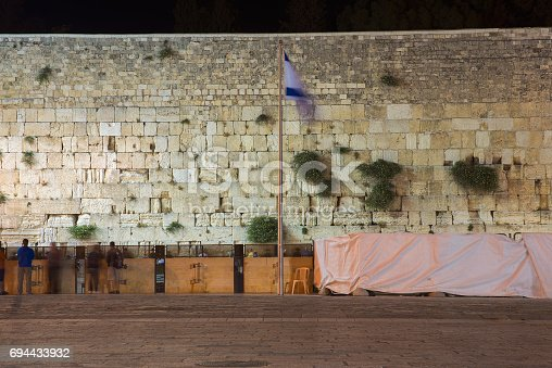 Western Wall in Jerusalem at night