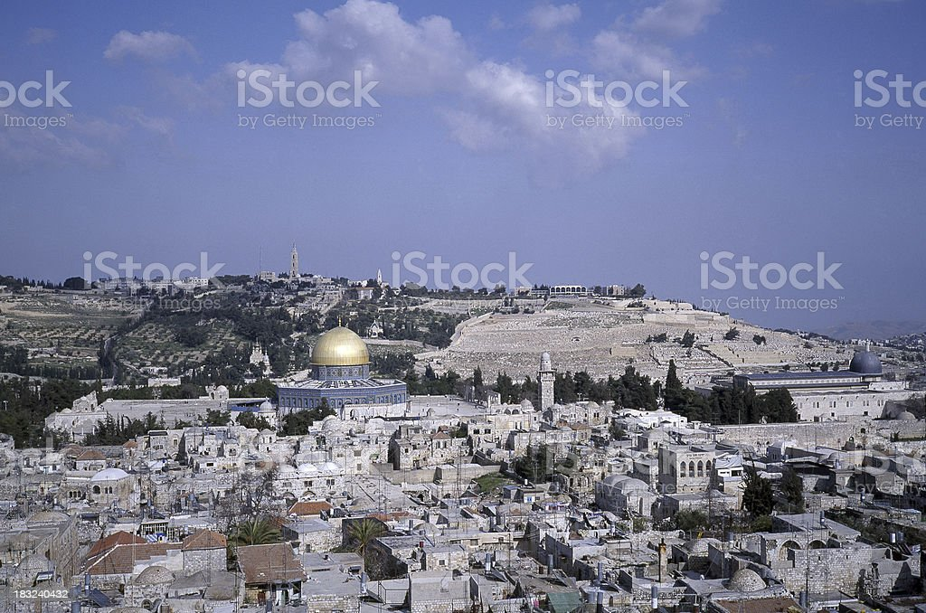 Jerusalem Old City Skyline in Israel royalty-free stock photo