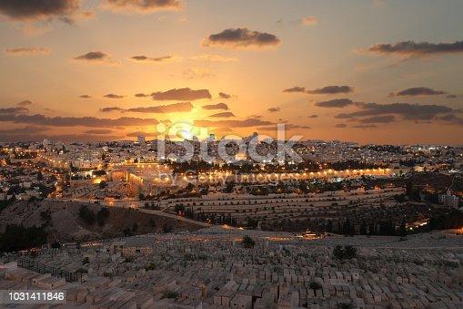 Jerusalem old city sunset night aerial view