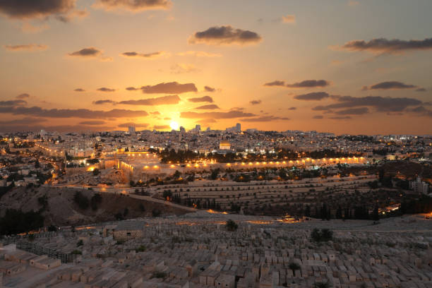 Jerusalem old city sunset night aerial view Jerusalem old city sunset night aerial view dome of the rock stock pictures, royalty-free photos & images