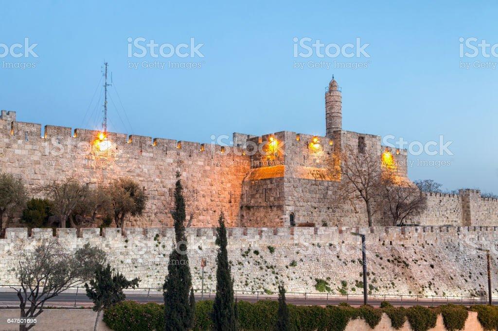 Jerusalem Old City - The Citadel at Night stock photo
