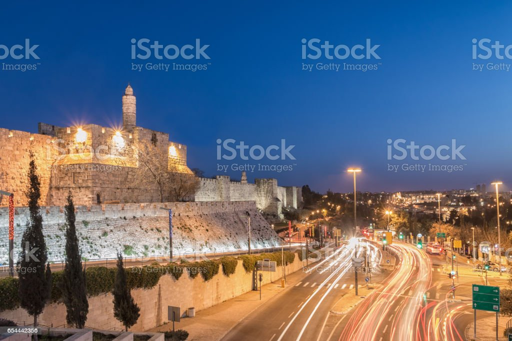 Jerusalem Old City - Tower of David at Night stock photo
