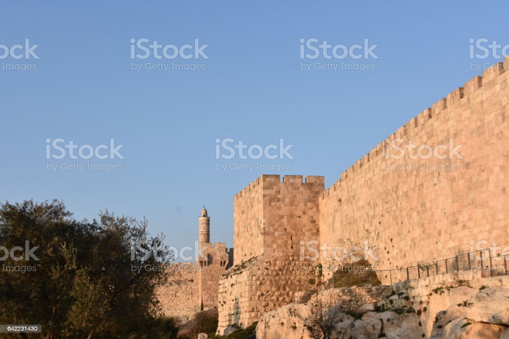 Jerusalem Old City wall stock photo
