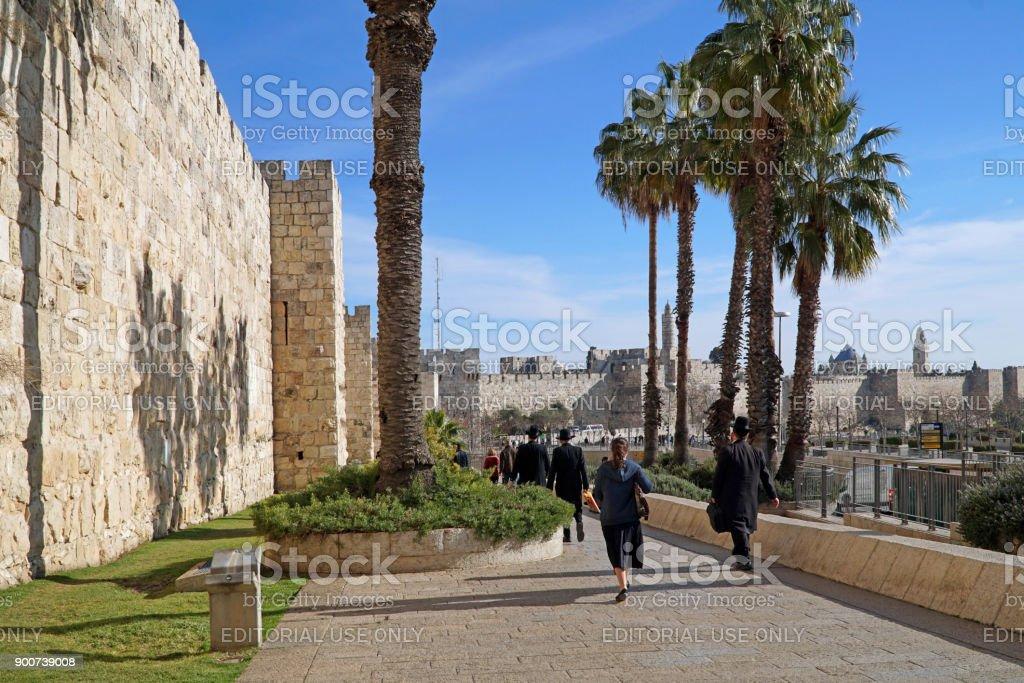 Jerusalem Old City Wall stock photo