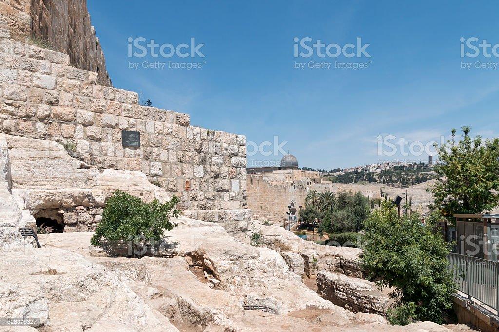 Jerusalem Old City Walls and Al-Aqsa Mosque stock photo