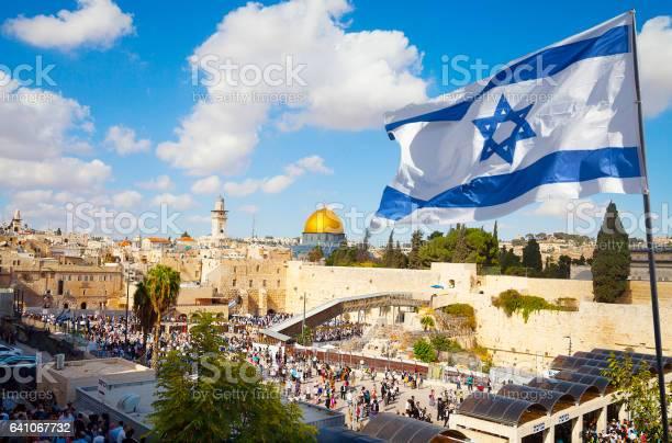 Jerusalems Altstadt Klagemauer Mit Israelischen Flagge Stockfoto und mehr Bilder von Altstadt