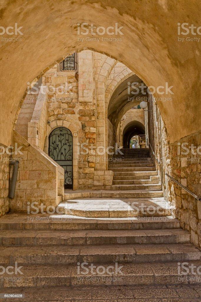Jerusalem old street stock photo