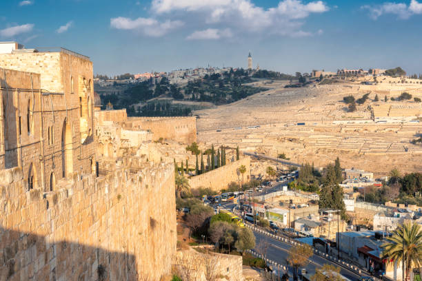 Jerusalem old wall and Mount of Olives, Israel Incredible panoramic wide view inside the old city of Jerusalem. muslim quarter stock pictures, royalty-free photos & images