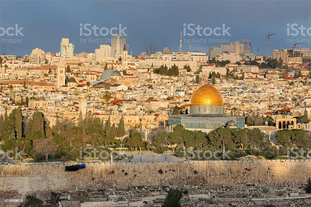 Jerusalem - Outlook from Mount of Olives to old city stock photo