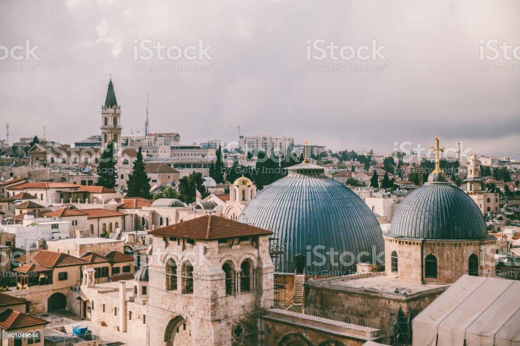 Jerusalem panoramic roof view stock photo