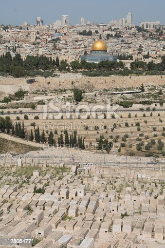 April 17, 2018 - Jerusalem, Israel: General view of the historic city of Jerusalem from the Mount of Olives, where the panorama of the city attract tourists from all over the world.